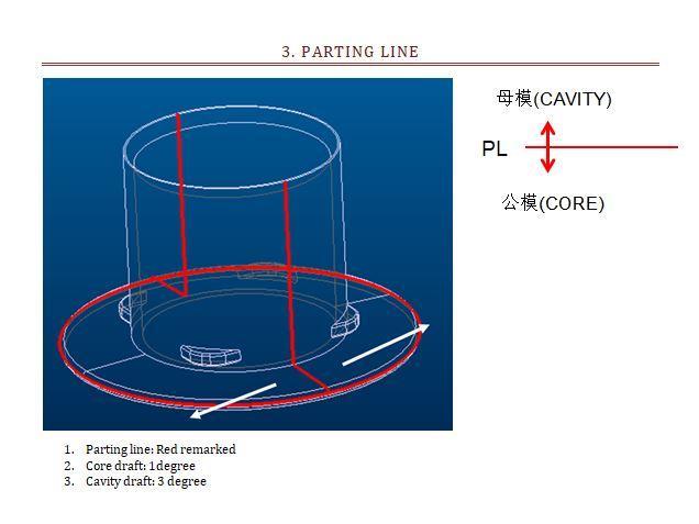 Линия разделения (разъёма) формы для стакана блендера